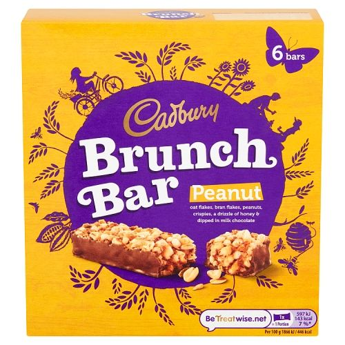 CADBURY BRUNCH BAR PEANUT 6 PACK