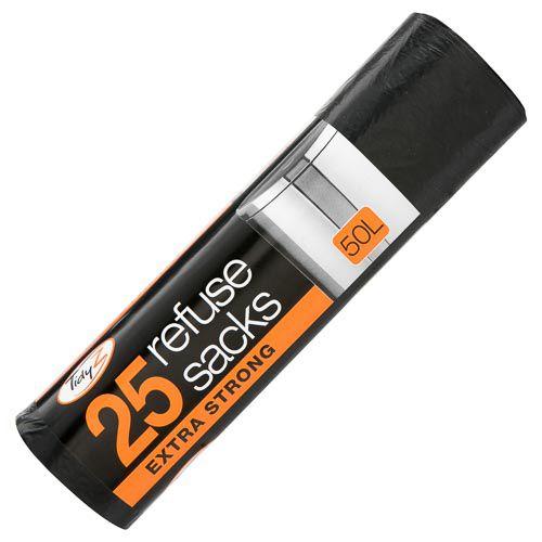 Extra Strong Refuse Sacks Black 50l 25pk