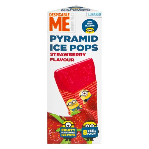DESPICABLE ME PYRAMID ICE POPS STRAWBERRY 8 PACK