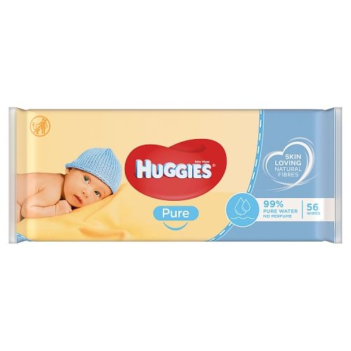 HUGGIES PURE BABY WIPES, 56 PACK