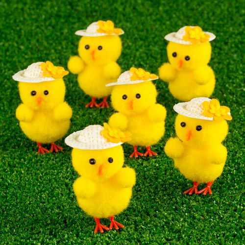EASTER CHICKS IN BONNETS 6 PACK