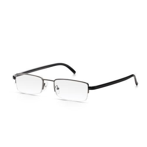 Grey Metal Half Frame Reading Glasses +1.25