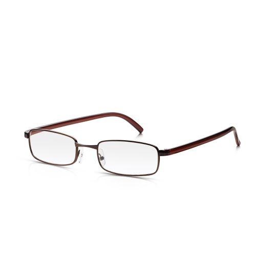 Brown Metal Frame Reading Glasses +2.00