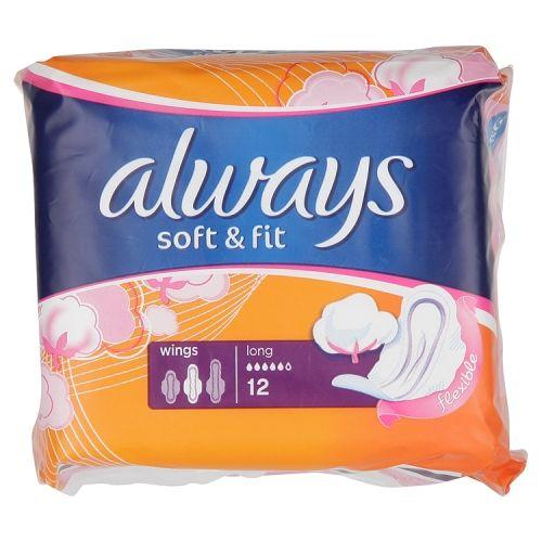ALWAYS SOFT & FIT LONG PLUS TOWELS 12 PACK