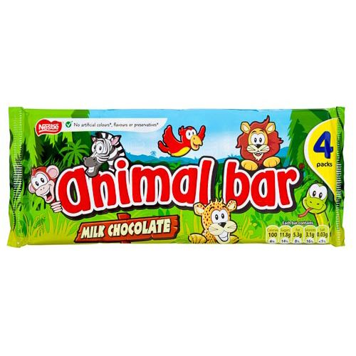Nestle Animal Bar Milk Chocolate 4x19g