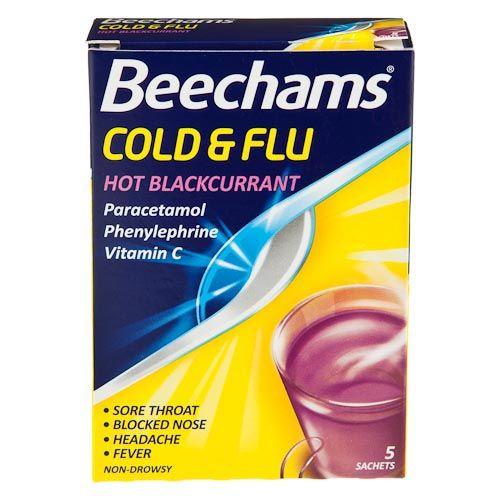 BEECHAMS COLD & FLU HOT BLACKCURRANT 5 SACHET PACK