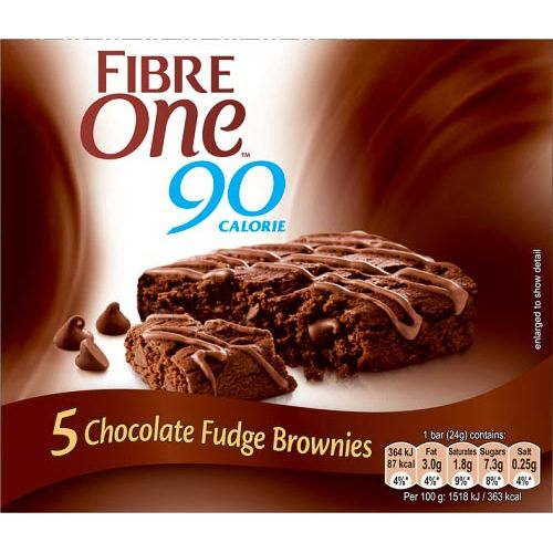 FIBRE ONE CHOCOLATE FUDGE BROWNIE BARS 5X24G