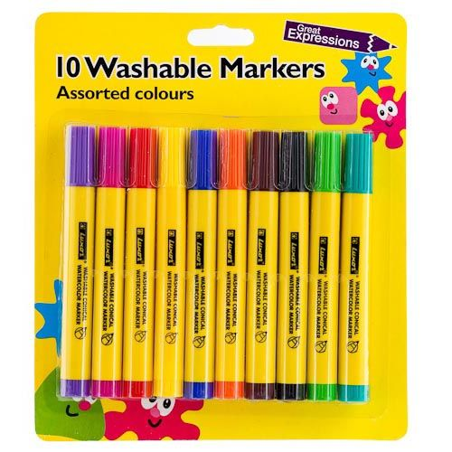 WASHABLE COLOUR MARKERS 10 PACK