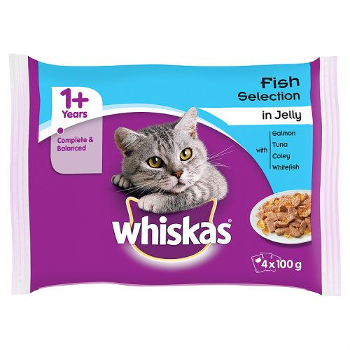 Whiskas 1+ Cat Pouches Fish In Jelly 4 X 100
