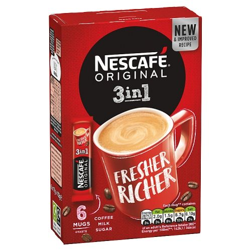 Nescafe Original 3in1 Instant Coffee Sachets 6x17g