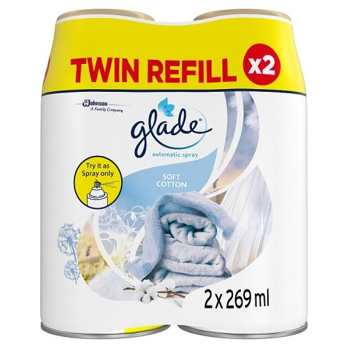 Glade Auto Spray Refill Soft Cotton 2x269ml