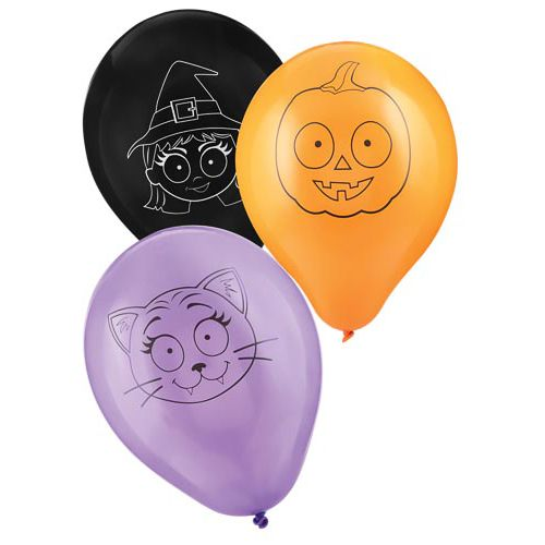 15PK HALLOWEEN PRINTED BALLOON