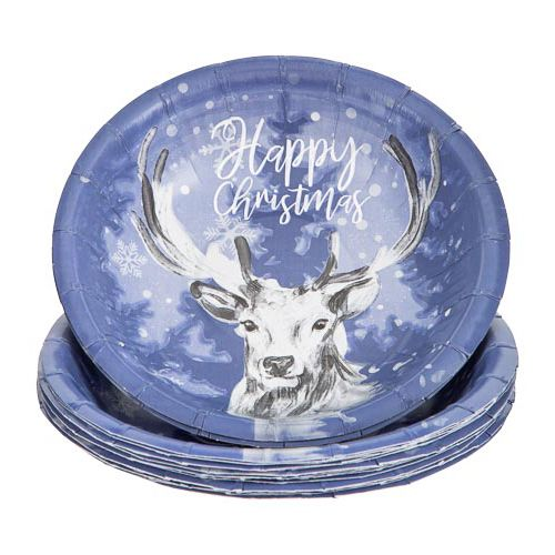 HAPPY CHRISTMAS PAPER BOWLS 20 PACK
