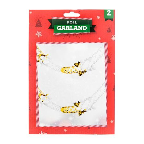 RED/ GOLD FOIL GARLAND 2 PACK