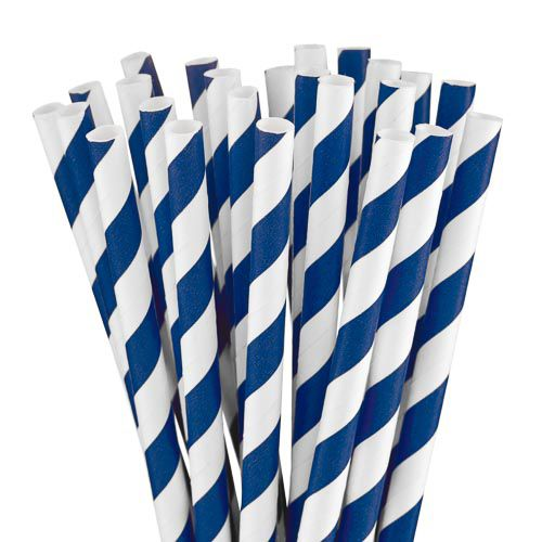 BLUE AND WHITE STRIPPED PAPER STRAWS 25 PACK