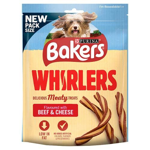 Bakers Whirlers Dog Treats Beef and Cheese 130g