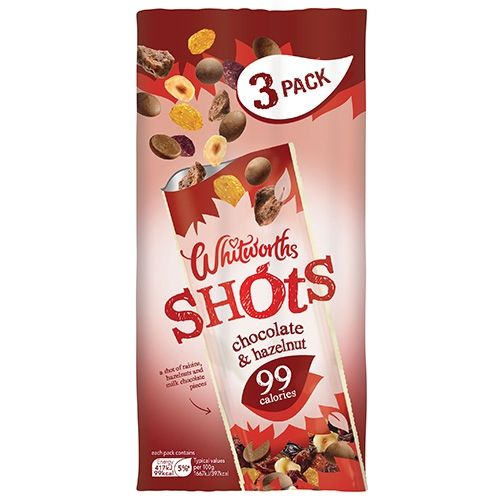 75G WHITWORTHS CHOCOLATE & HAZELNUT SHOTS