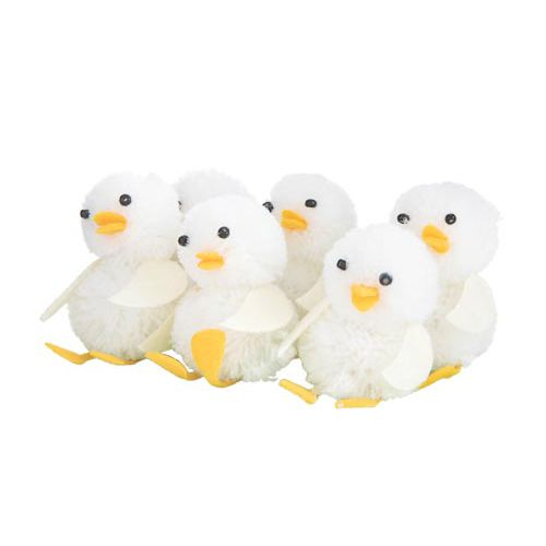 White Chick Decorations 6 Pack