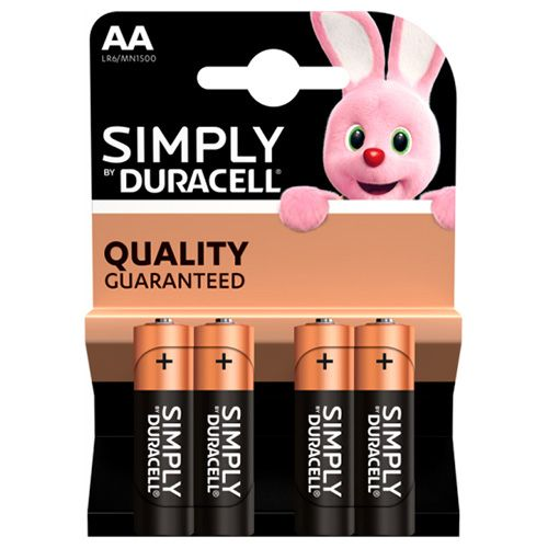 DURACELL SIMPLY AA ALKALINE BATTERIES 4 PACK