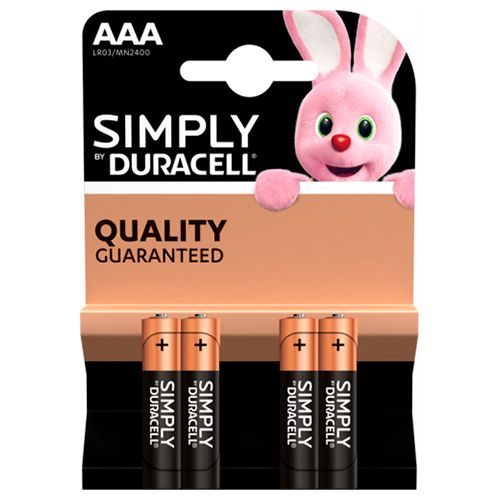 DURACELL SIMPLY AAA ALKALINE BATTERIES 4 PACK