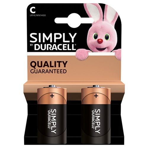 DURACELL SIMPLY C ALKALINE BATTERIES 2 PACK
