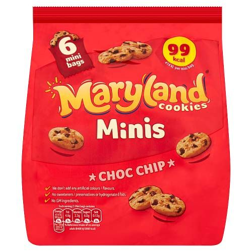 MARYLAND MINIS CHOCOLATE CHIP COOKIES 6 PACK 119G