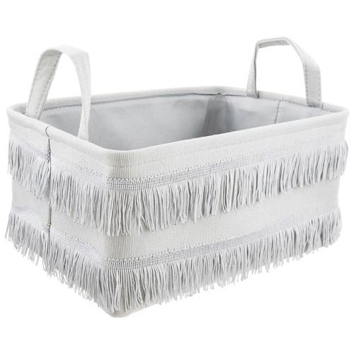 White Tassle Storage Basket 32x22x15cm