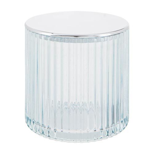 Glass Trinket Pot With Silver Lid