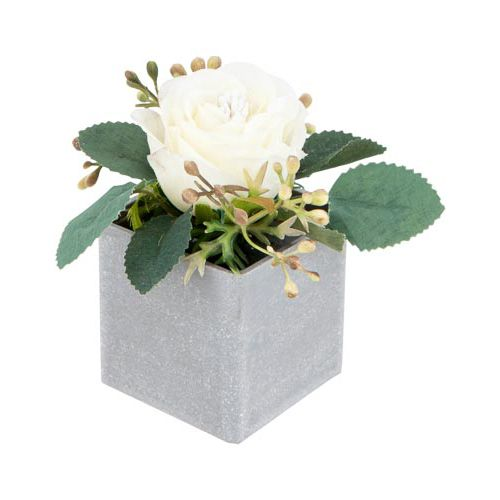 Artificial Flower Head In Cement Look Pot