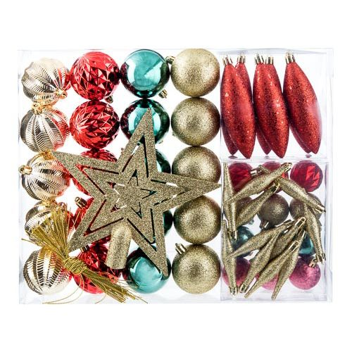 Baubles Multicoloured 50 Pack