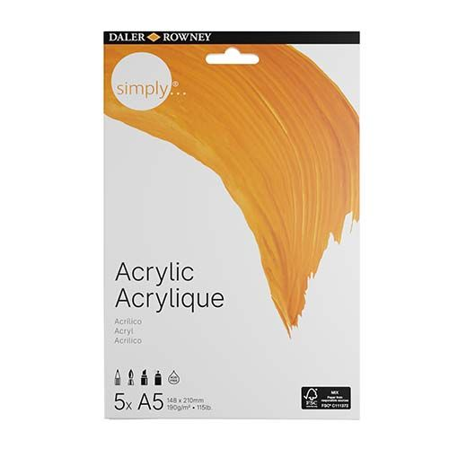 Daler-Rowney Simply A5 Acrylic Paper 4pk