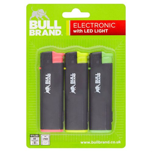BULL BRAND ELECTRONIC LIGHTER WITH LED 3PK