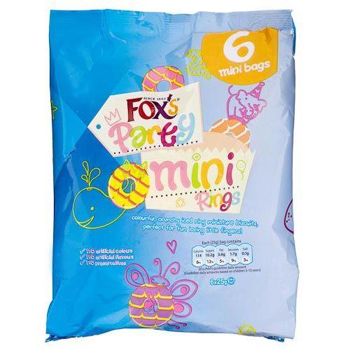 Fox's Mini Party Rings 25g 6 Pack